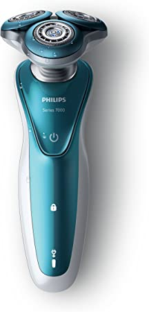 Philips S7370/12 - Afeitadora eléctrica, afeitar en seco y húmedo, con funda y recortador de precisión SmartClick, color azul, corded-electric, 2015