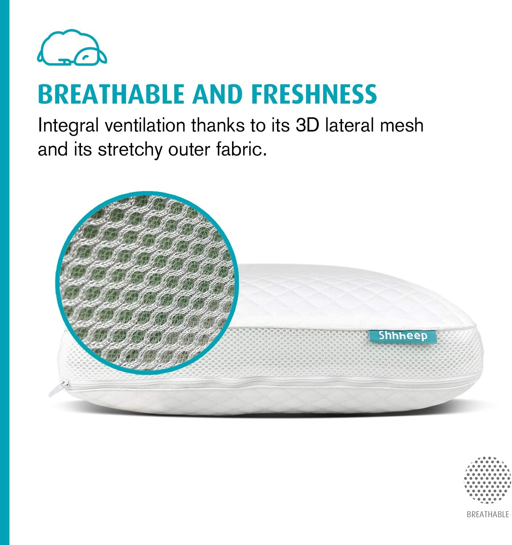 SHHHEEP DREAMS Memory Foam Pillow Aloe Vera Ergonomic Orthopedic Breathable Hypoallergenic Antimicrobial Natural Tencel Case