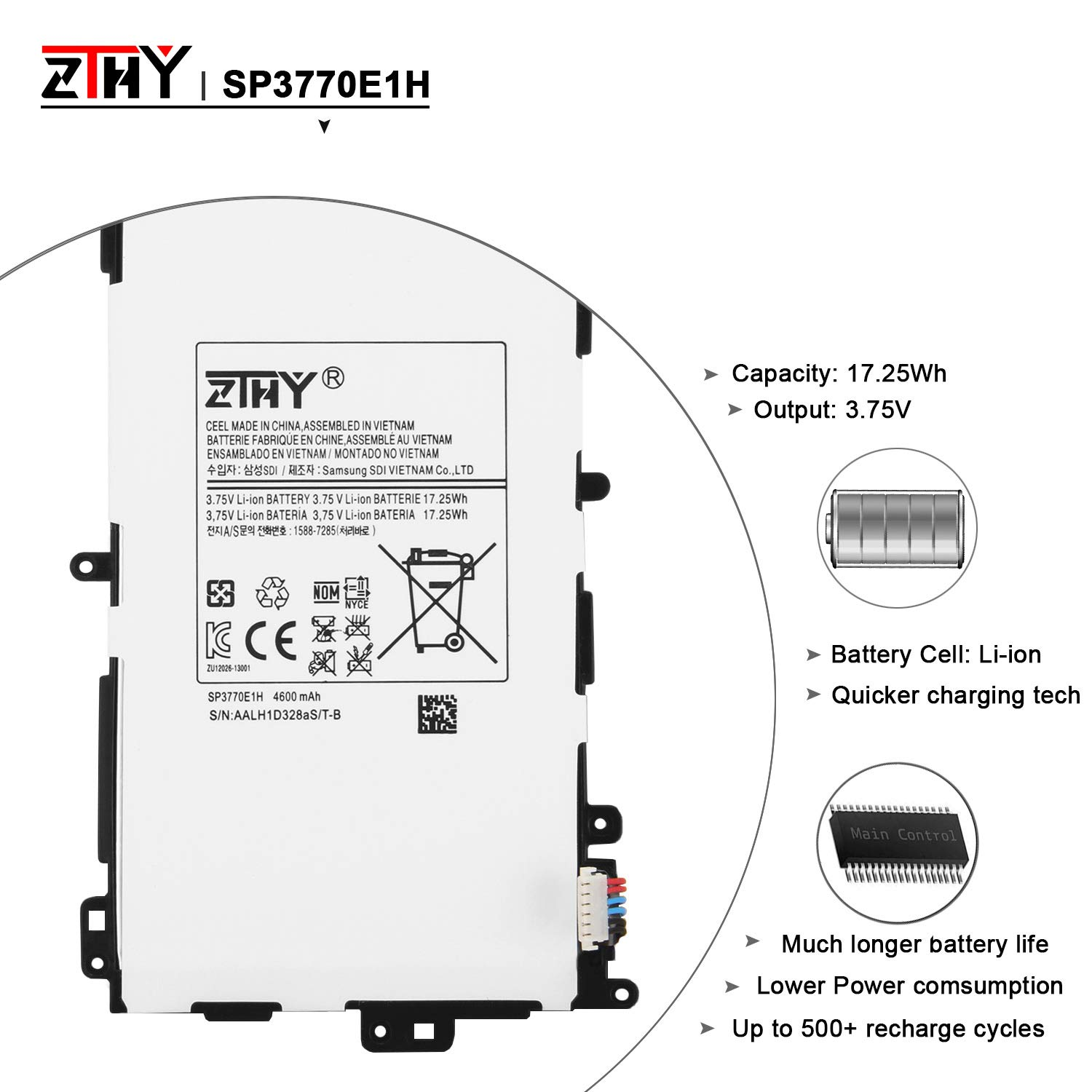 ZTHY Compatible New SP3770E1H Tablet Battery Replacement for Samsung Galaxy Note 8.0 GT-N5110 N5100 N5120 N5110 Series SGH-i467 3.75v 4600mAh With Tools by ZTHY (Image #2)