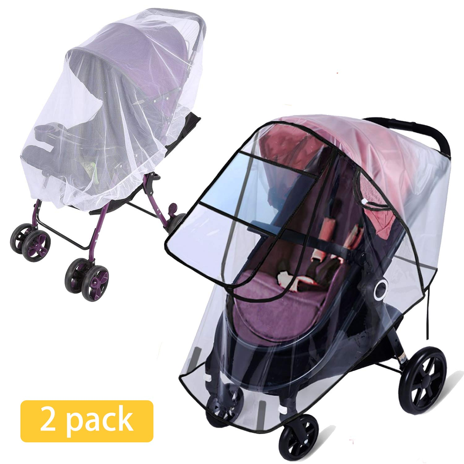 Rain Cover for Stroller - Mosquito Net(2-Piece Set), Apsung Universal Baby Travel Stroller Rain Cover Waterproof, Windproof Protection, Outdoor Use with Air Holes-Transparent by Apsung