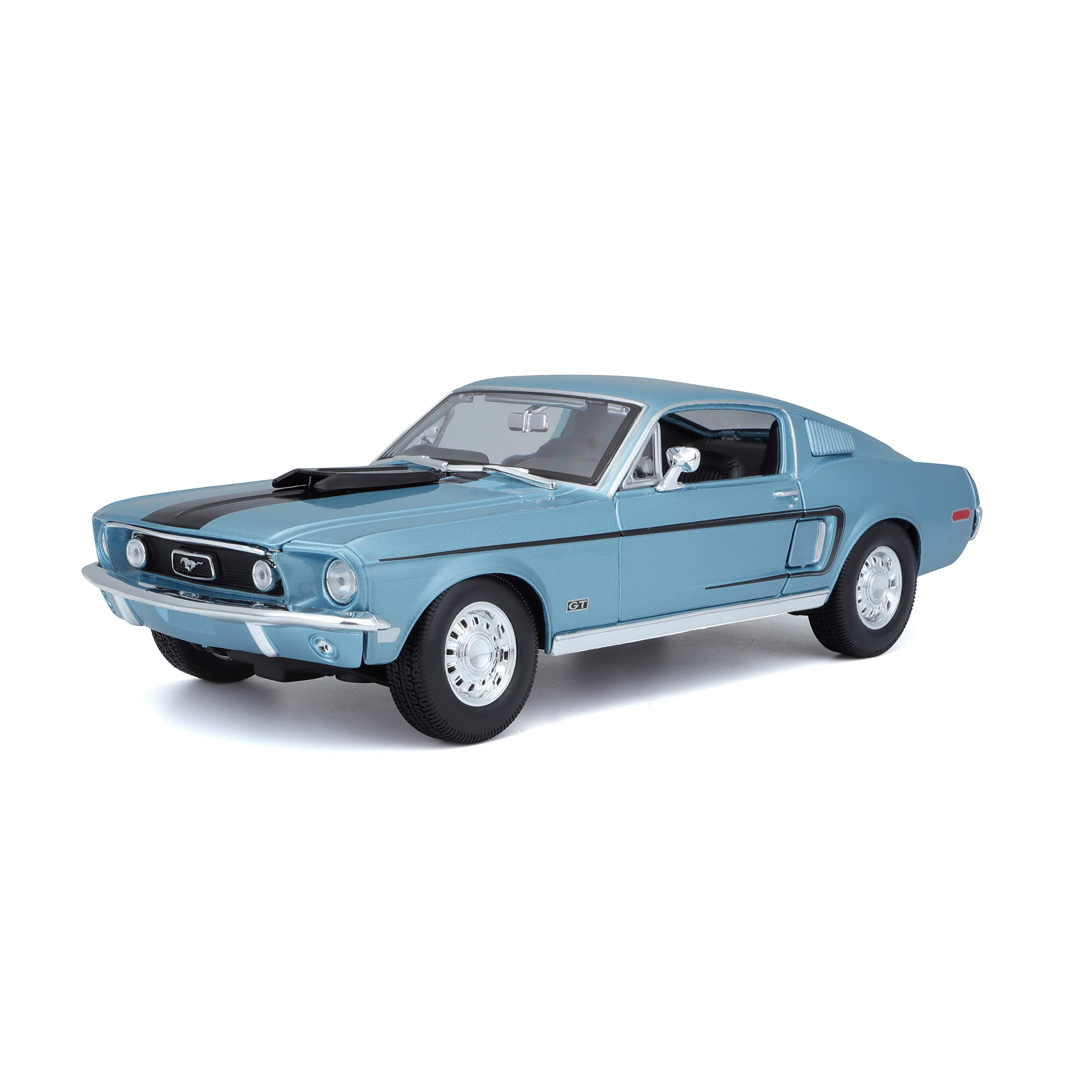 Maisto 1968 Ford Mustang GT Cobra Jet Hard Top 1/18 Scale Diecast Model Vehicle Blue
