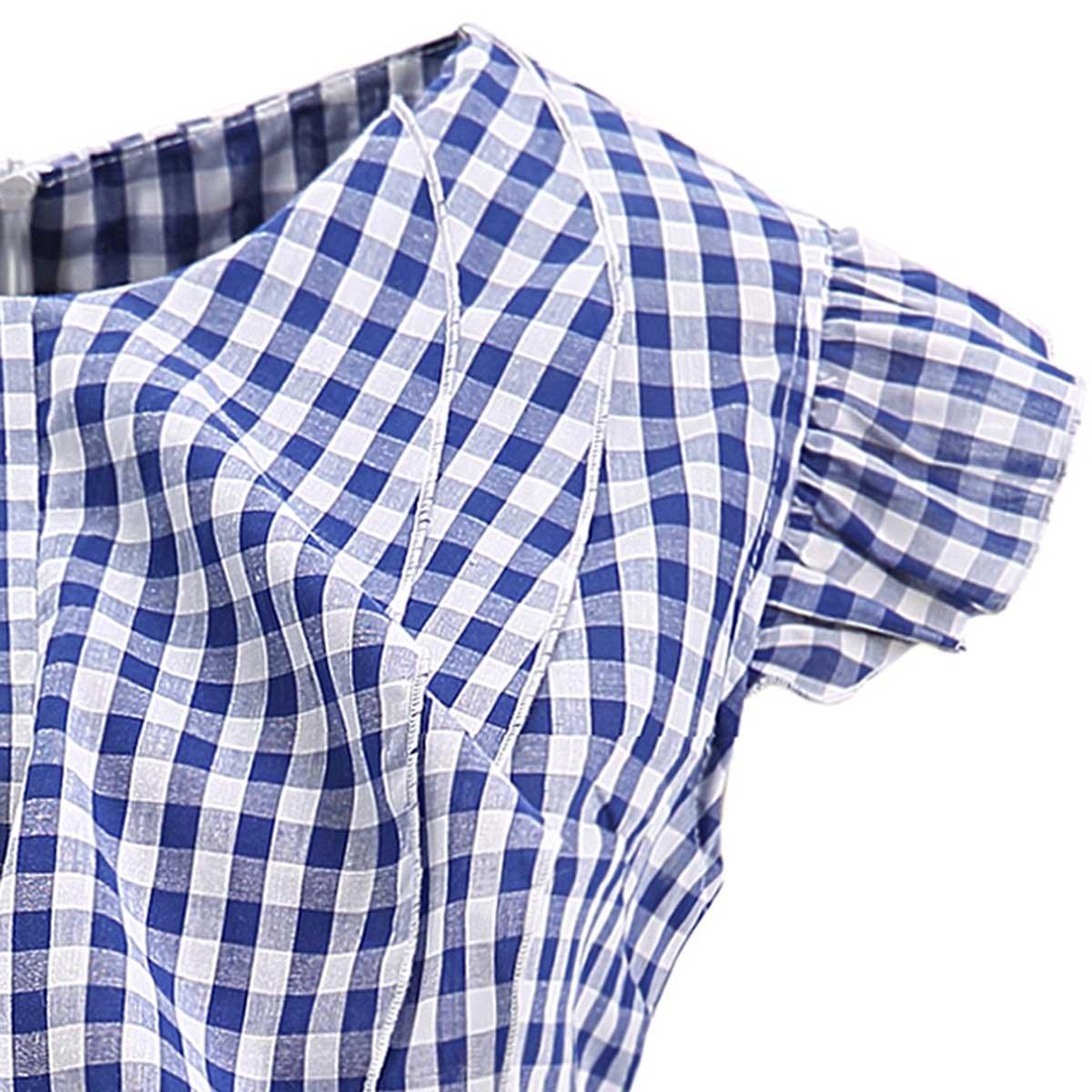 68b316a2fa4308 AOMEI Women Sleeveless Plaid Blouses Ruffles Vintage Gingham Peplum Top  Shirts at Amazon Women's Clothing store: