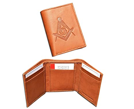 26df65100108 One (1) Masonic Tan Brown Tri-Fold Leather Wallet with Masonic Compass and