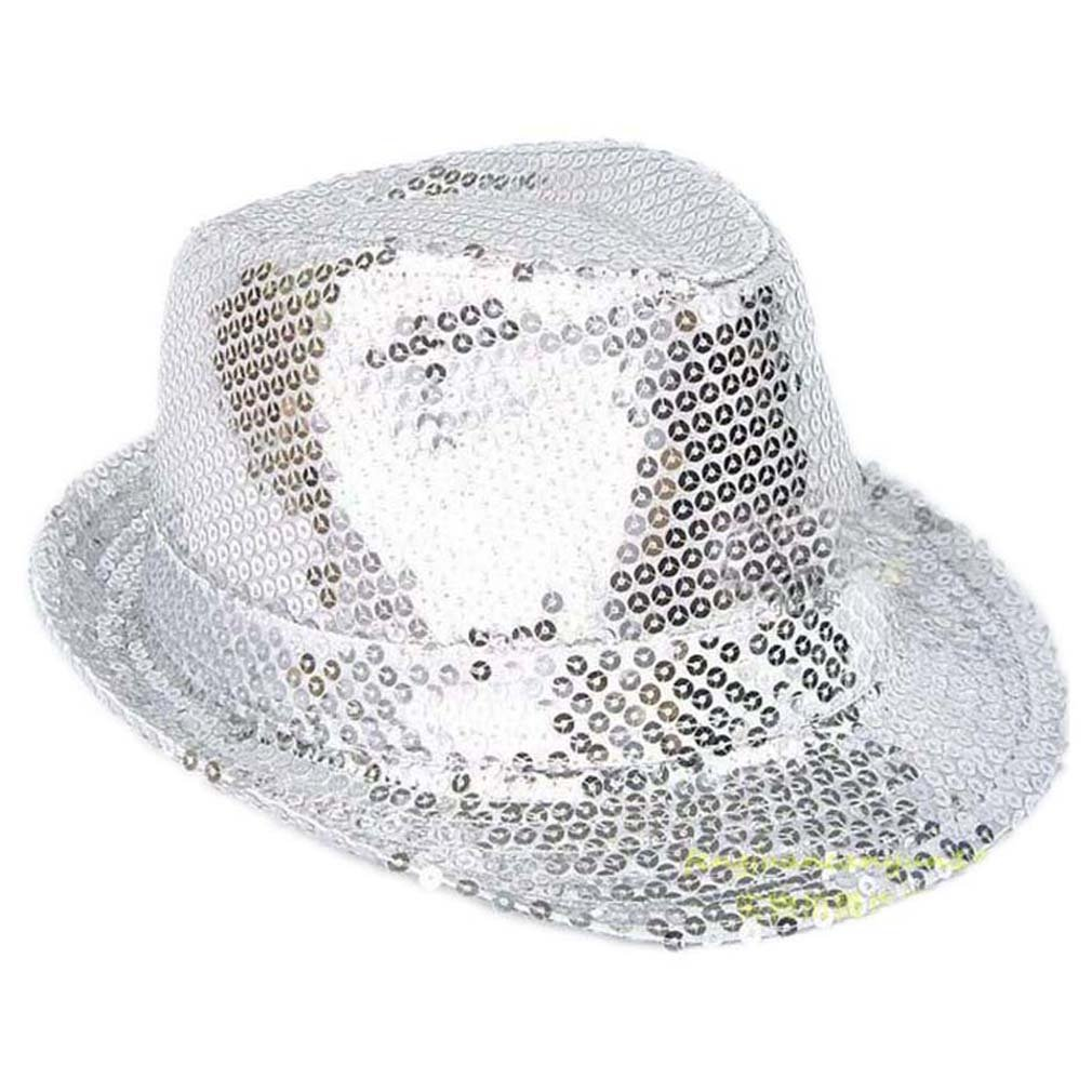 Elee Unisex Adult Solid Color Sequins Fedora Hat