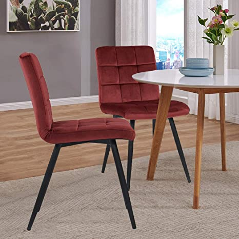 Set Of 2 Kitchen Dining Chairs Armless Chairs Modern Upholstered Accent Chairs With Solid Steel Legs Velvet Cushion For Dining Room