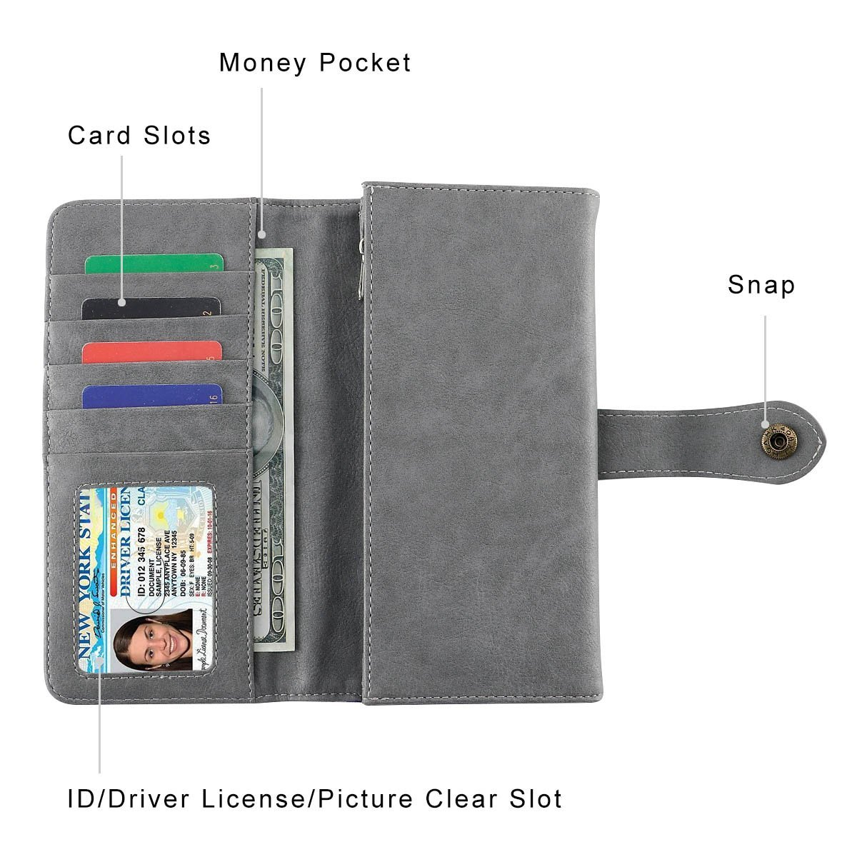 Women Wallet Large Capacity Clutch Wallet Holder Purse with ID Window and Inner Zipper Pocket (Grey) by SMITHSURSEE BAG (Image #3)