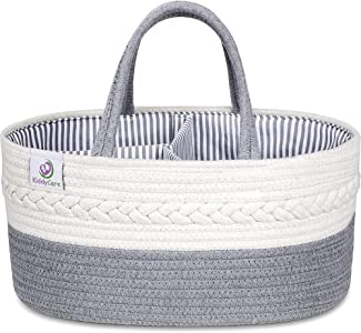 KiddyCare Baby Diaper Caddy Organizer - Stylish Rope Nursery Storage Bin - 100% Cotton Canvas Portable Diaper Storage Basket for Changing Table & Car - Top Baby Shower Gift for Boys & Girls