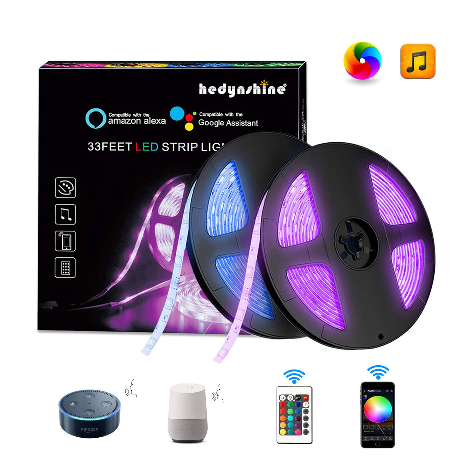 Hedynshine 33 Ft LED Strip Lights, Waterproof Tape Lights with 300 LEDs SMD 5050 RGB Rope Lights, Sync to Music, 24 Key Remote Control and Compatible with Alexa/Google Home,WiFi LED Lights Strip