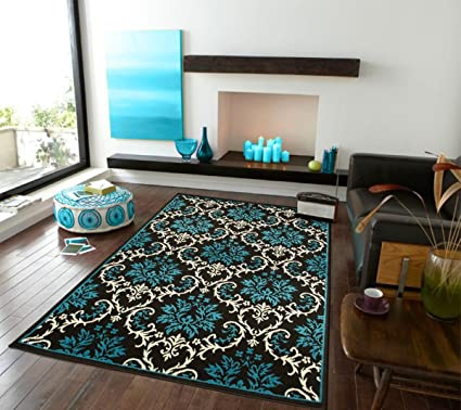 Charmant Large Luxury Contemporary Rugs 8x11 Blue Rugs For Living Room 8x10 Rug  Washable Blues Black Ivory