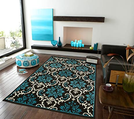 Large Luxury Contemporary Rugs 8x11 Blue For Living Room 8x10 Rug Washable Blues Black Ivory