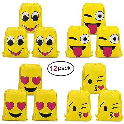 c893aed6f162 konsait Emoji Bags for Emoji Party Supplies(12pack)