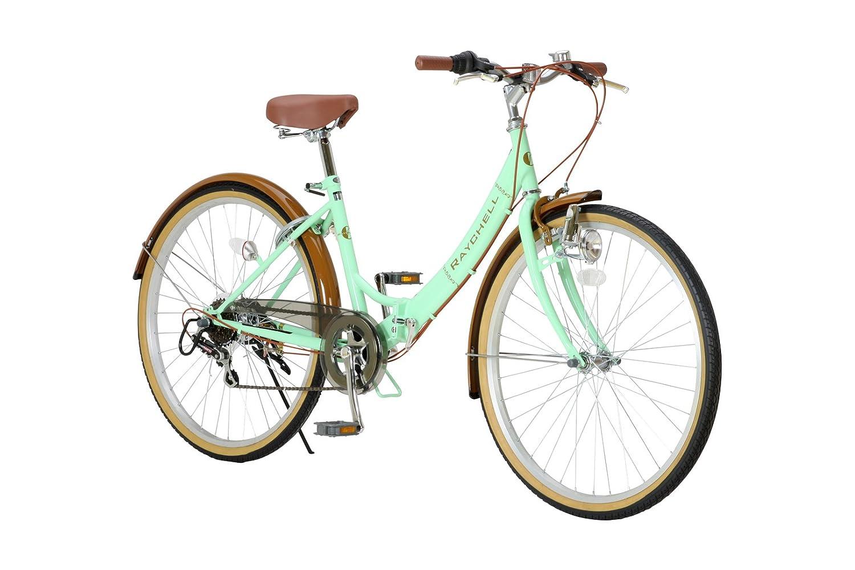 RayChell(レイチェル) 26インチ 折りたたみ自転車 R-321N シマノ6段変速 ノーパンクタイヤ グリップシフト フロントライト付 グリーンxブラウン [メーカー保証1年] B00BRAXUE0