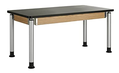 Diversified Woodcraft P8141K UV Finish Plain Adjustable Height Table with Plastic Laminate Top, 60 Width x 39 Height x 30 Depth