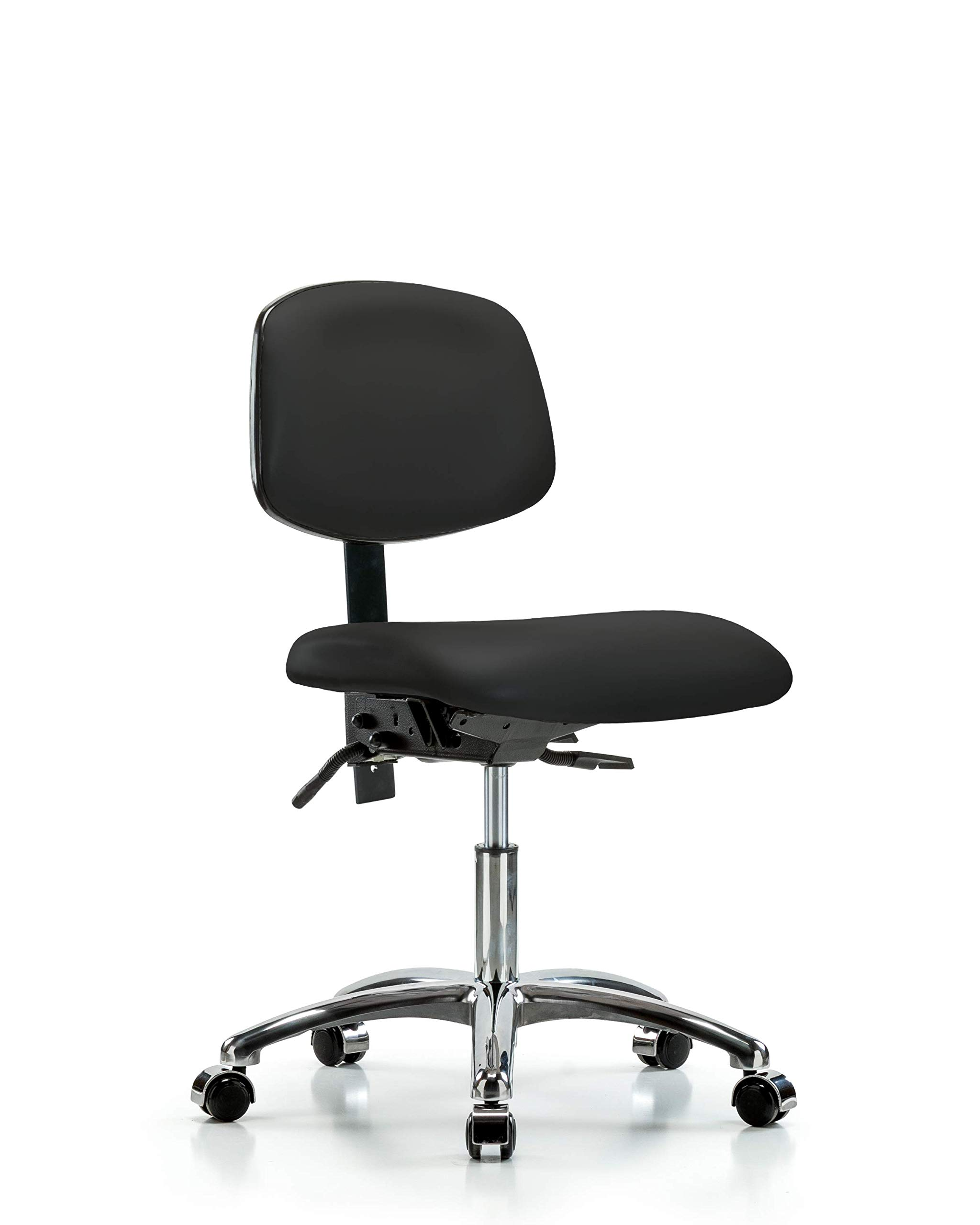 Ergonomic Chair for Medical Offices, Labs, and Dentists with Wheels - Chrome, Desk Height, Black