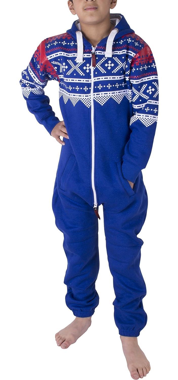 Unisex per bambini ragazze ragazzi azteco in pile con cappuccio tuta tutina 2-13 anni Azul real)