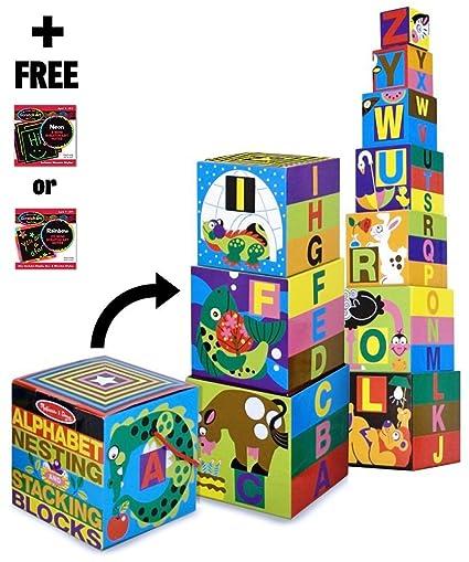 Amazon Com Alphabet Nesting Stacking Blocks 10 Piece Play