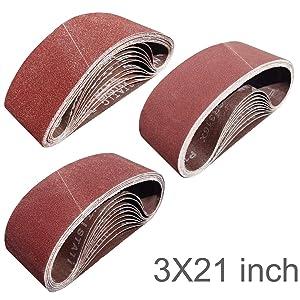 Tonmp 30 PCS 3 inch x 21 inch Sanding Belts - 10 Each of 40 80 120 Grit Aluminum Oxide Sanding Belts For Belt sander (3x21 inch)