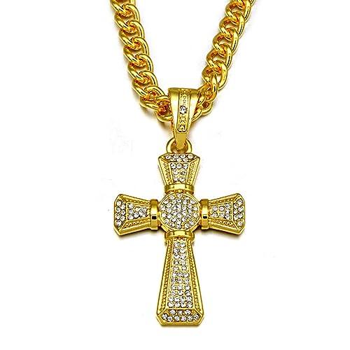 vasta selezione di 45465 307e0 Vonchic - Collana da uomo con catenina e crocifisso, stile hip hop, color  oro
