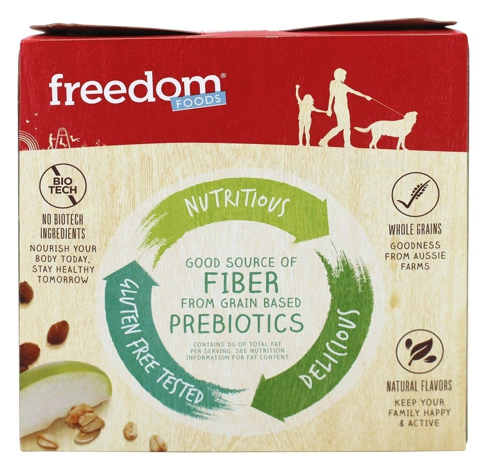 Freedom Foods Chewy Crunchola Granola Bar - Oats, Apple, and Cinnamon - 6 Count (1.2oz bars) 2 Pack