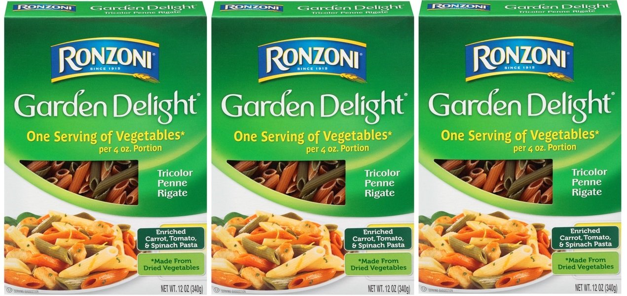 Garden Delight Tricolor Penne Rigate, 12 Oz., (Pack of 3) by Ronzoni