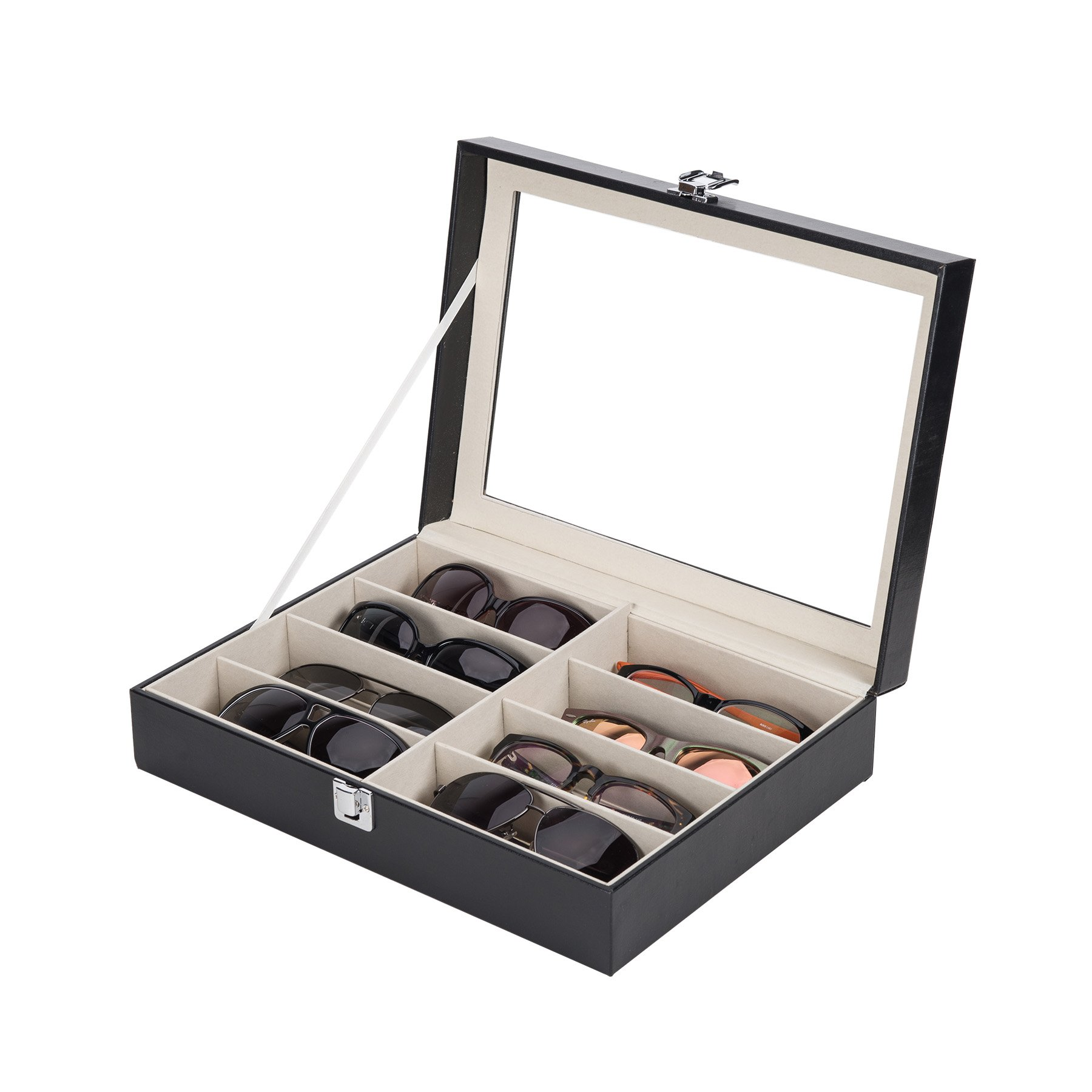 CO-Z Leather Multi Sunglasses Organizer for Women Men, Multiple Eyeglasses Eyewear Display Case, Sunglasses Collection Case, Sunglass Glasses Storage Holder Box with 8 Slots (8 Compartments)