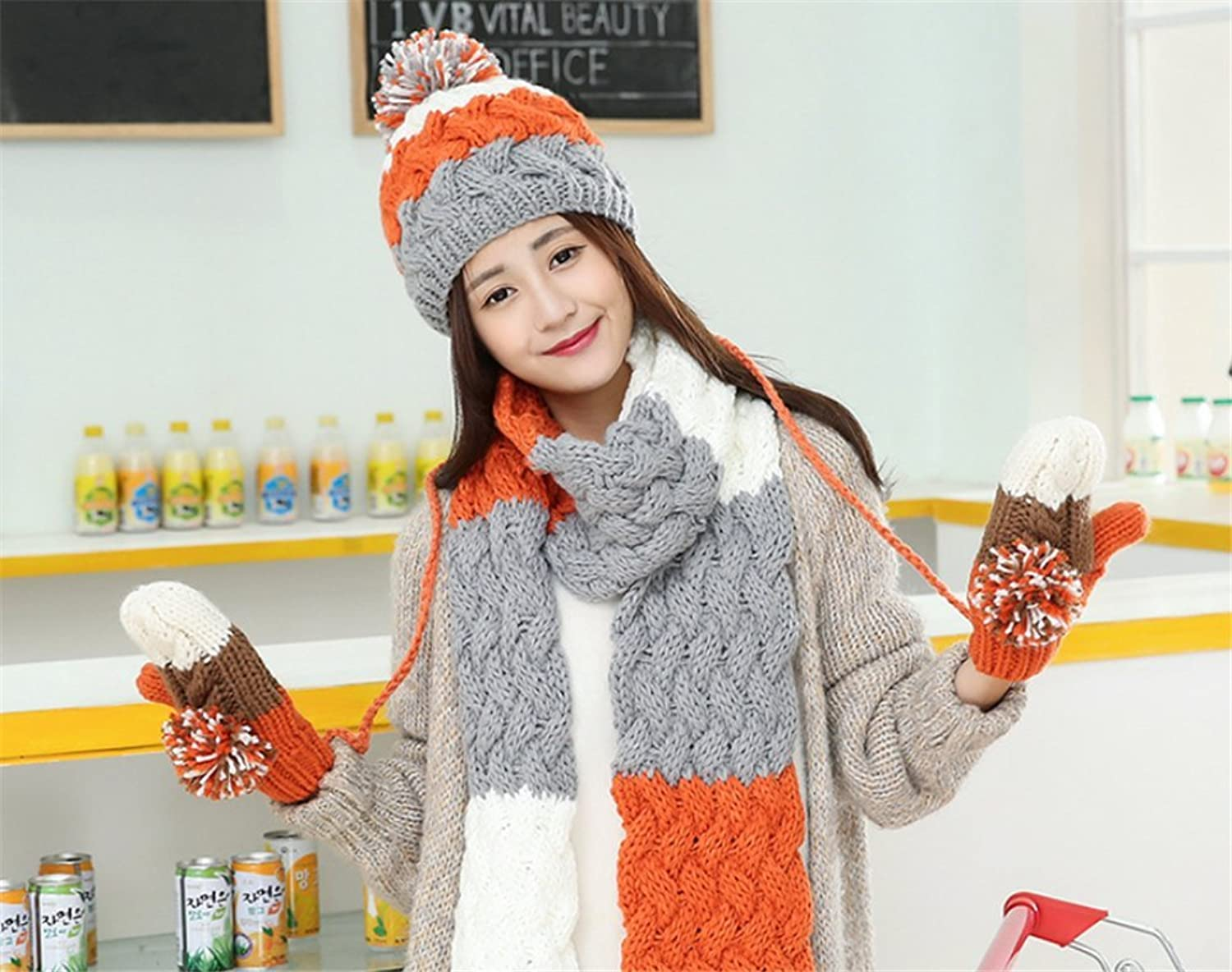 Fashion Hat Scarf Gloves Set Girl Women Fashion Ball Wool Knit Hat Warm Set