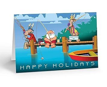 Amazon.com: Dock de playa – tarjeta de Navidad Pesca 18 ...