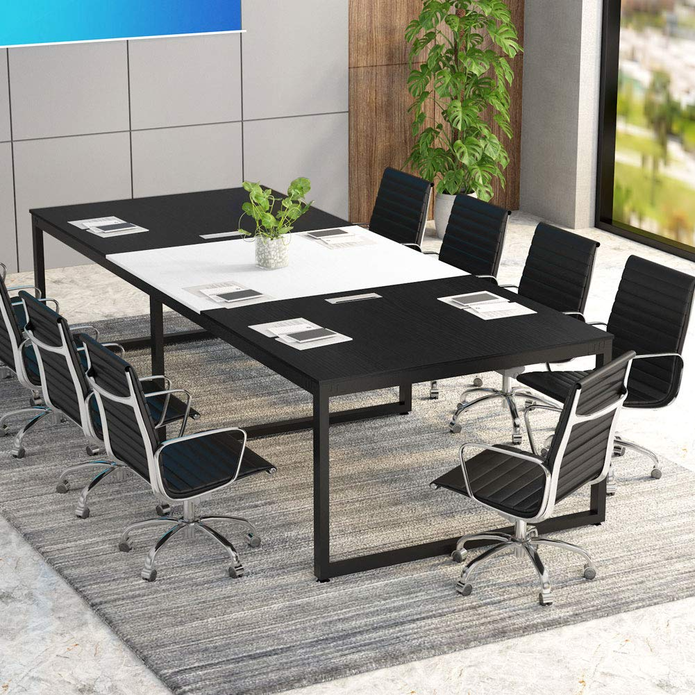 Tribesigns 8FT Rectangular Conference Table with Metal Base 94.48L x 47.24W x 29.92H Inches,Black and White