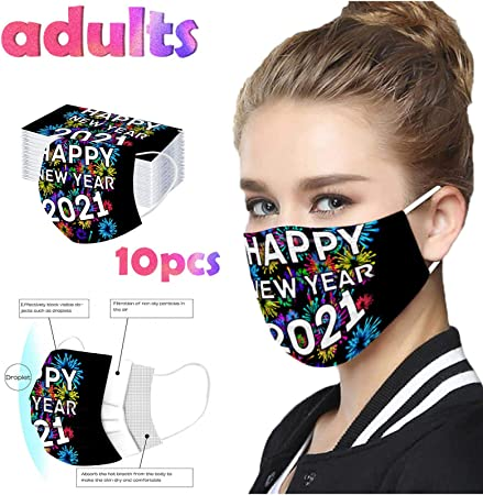 qwerasdf 10PCS Fashion Adult Disposable/_Face/_Masks 2021 Happy New Years Print Exquisite Facemask 3 Layer Safety Face Covering Outdoor Dustproof Windproof Haze Dust