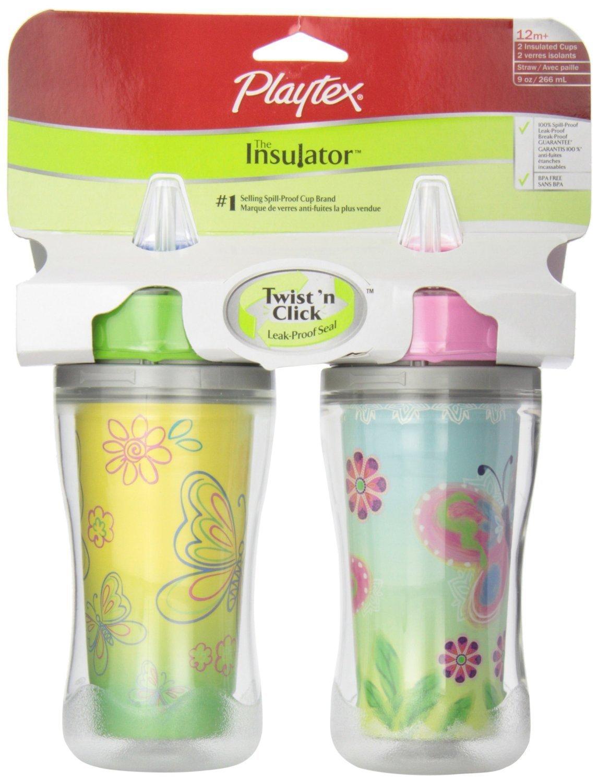 [プレイテックス]Playtex Insulator Straw Cups 2pc/保温 ストローカップ 2本セット トレーニングマグ ボトル   B005ERBKDA