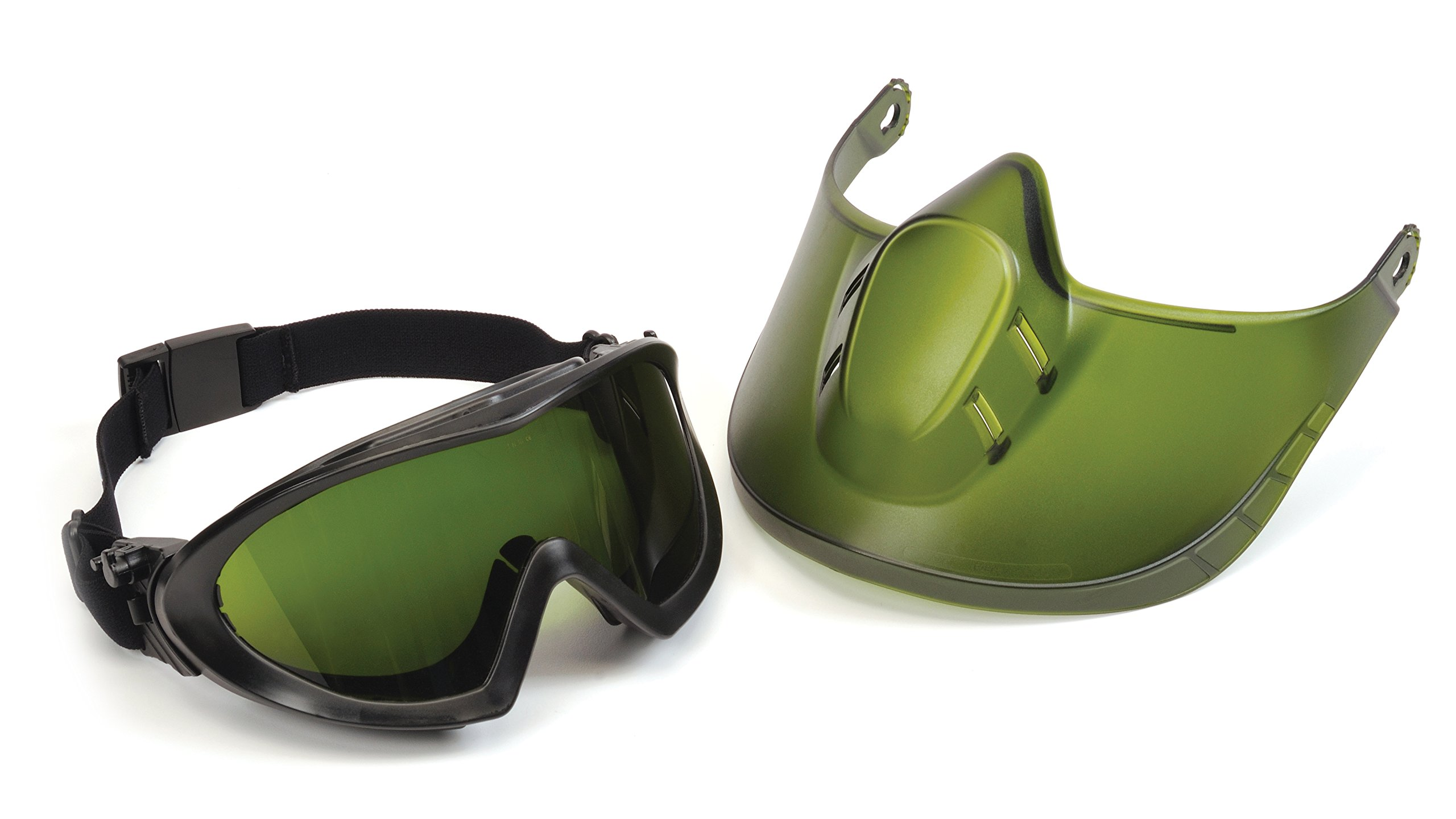 Direct/Indirect Goggle with IR3 Lens and Green Tinted Faceshield Attachment by Pyramex