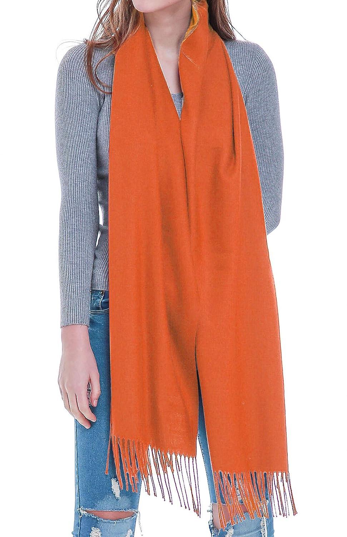 Deep orange Rheane Large Cashmere Feel Pashmina Shawl Scarf in Solid colors