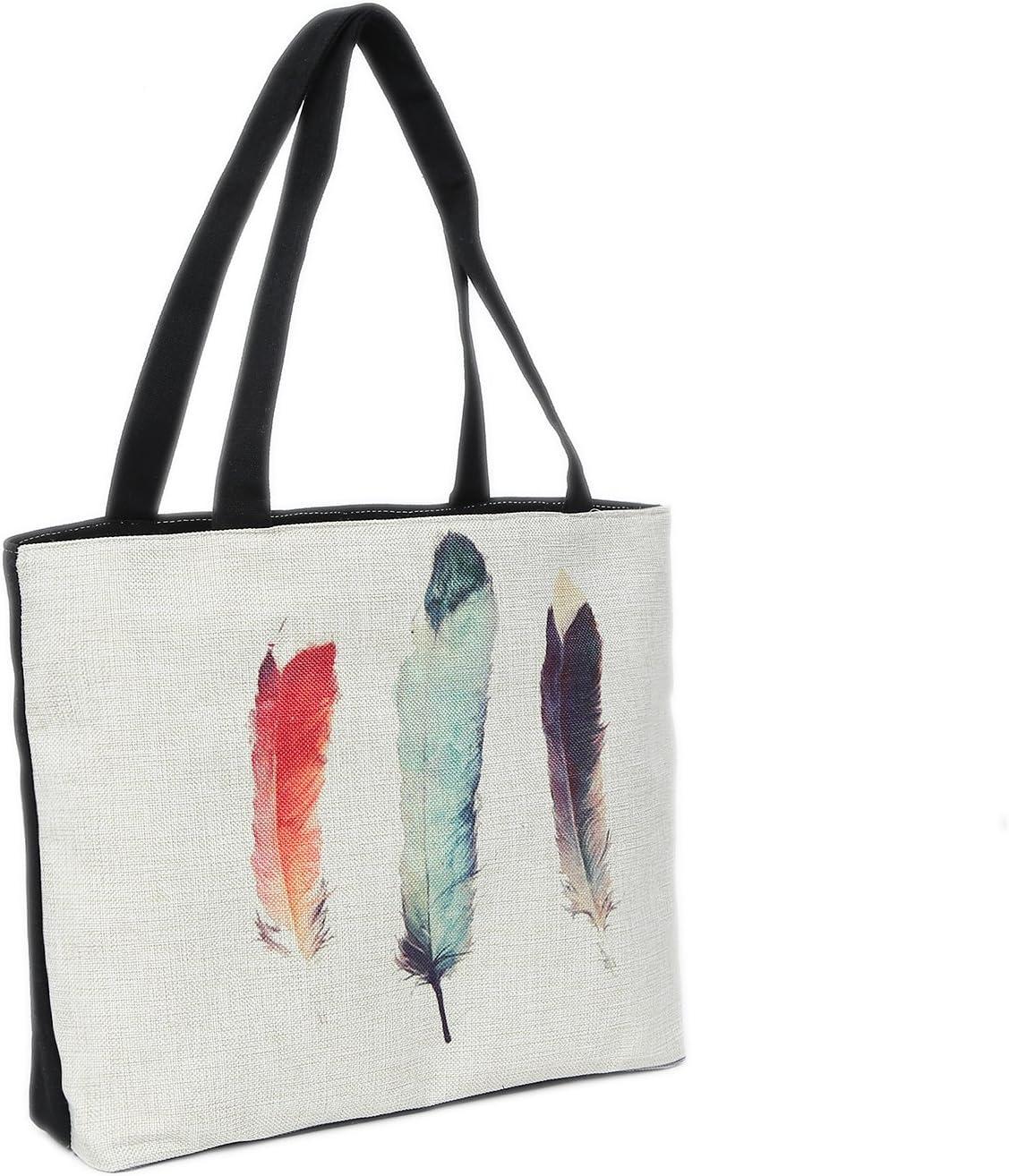Bolsa de Playa 46 x 32 x 10 cm Motivo Plumas Color Natural-Yute Shopper Bolsa de Hombro Estilo de Segunda Mano
