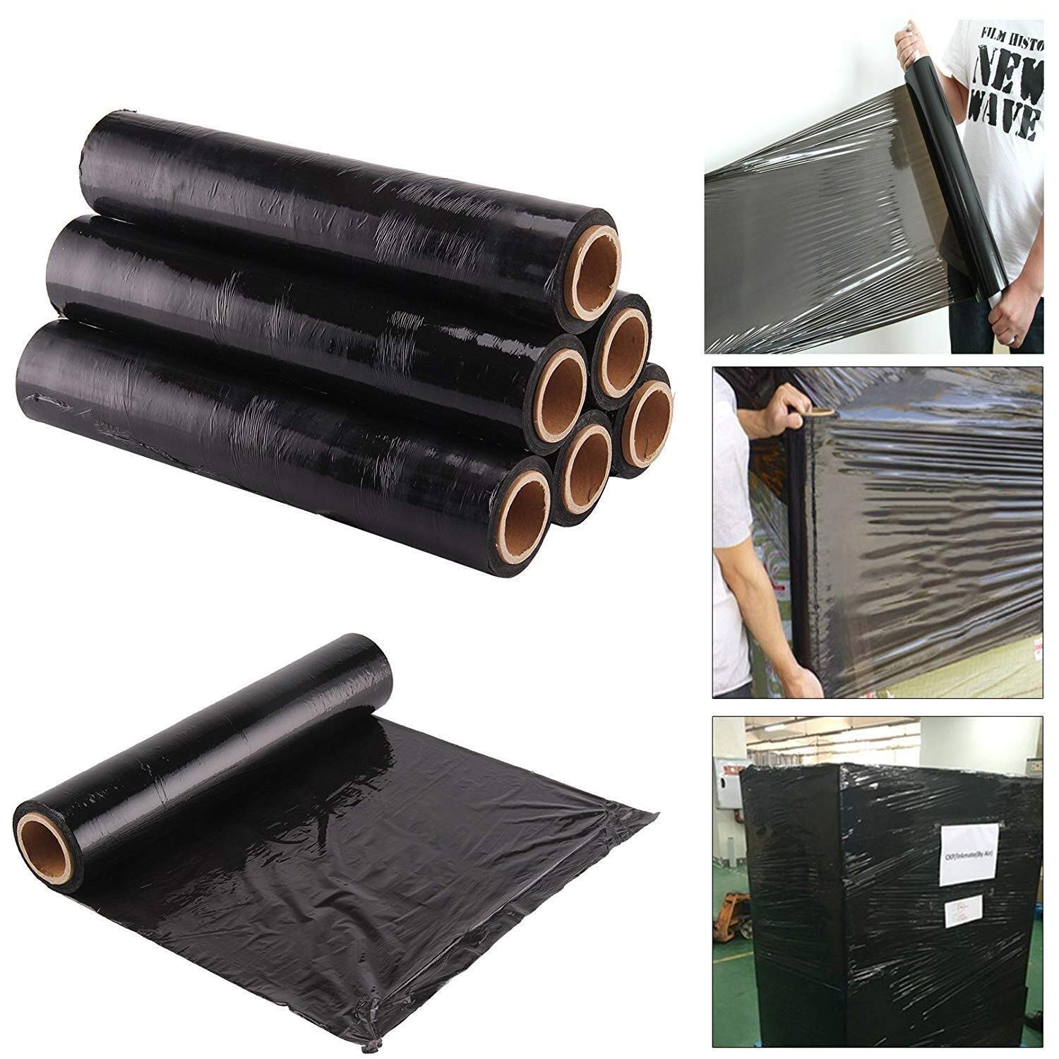 YXNZ PE Industrial Packaging Film,500 Mm X 350 M Extended Core Pallet Stretch Shrink Wrap,Heavy Duty Strong Pallet - Black Tint (Pack of 6) by YXNZ