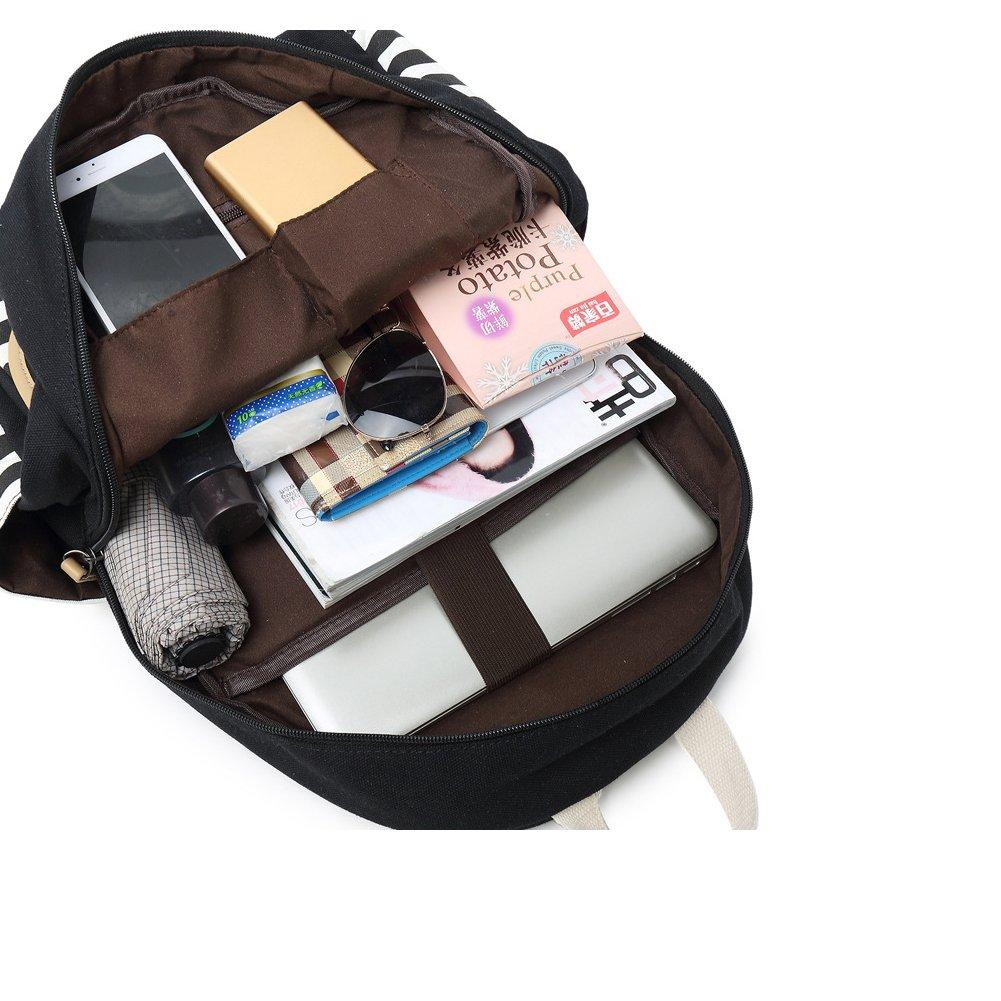Abshoo Causal Travel Canvas Rucksack Backpacks for Girls School Bookbags (Navy) by abshoo (Image #4)