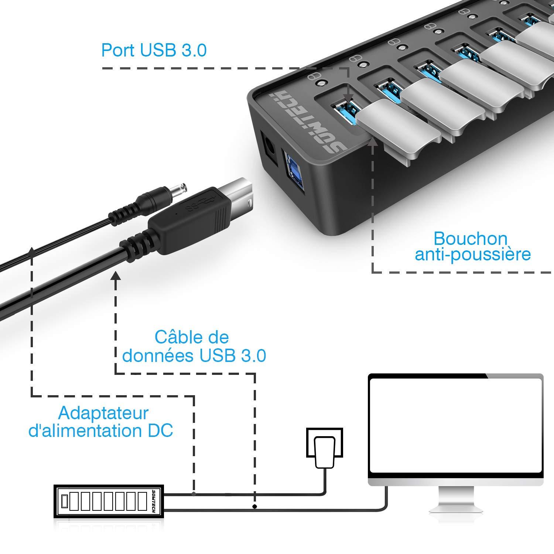 SOWTECH USB Hub 3.0 Alimentato 7 Porte USB 3.0 Hub (7 Porte di Ricarica e trasferimento Dati) con Interruttore ON/off con Adattatore di Alimentazione 12V/2A per MacBook/Windows/Laptop/PC/Cellulare