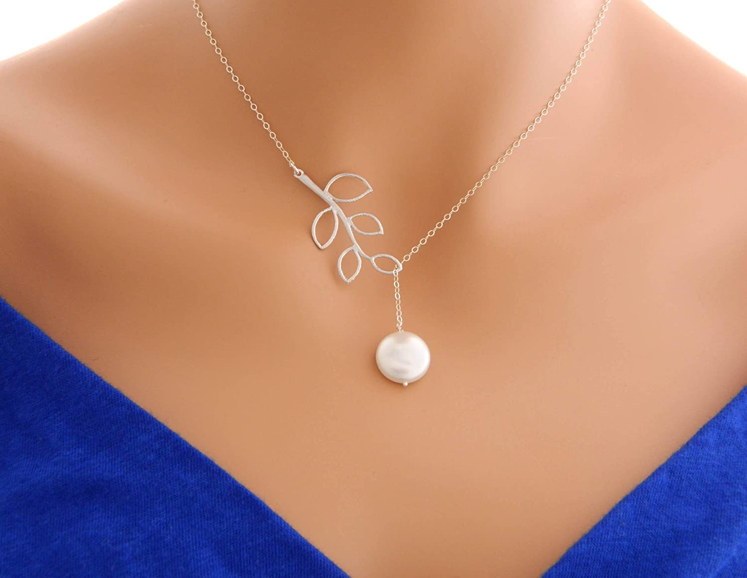bridesmaids gift pearl necklace Christmas for her bohemian jewelry chain necklace artisan jewelry chain lariat Pearl lariat necklace