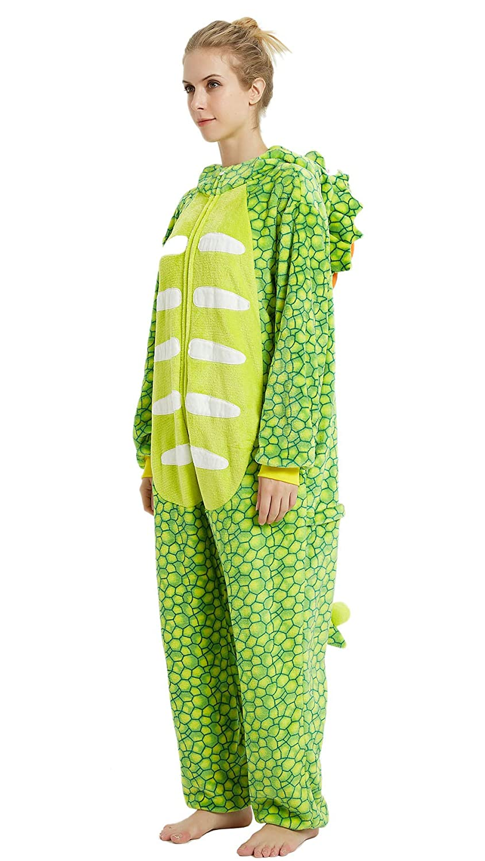 Cosplay Pigiama da Adulto a Forma di Dinosauro per Halloween Travestimento per Donne e Uomini YULOONG Natale Feste