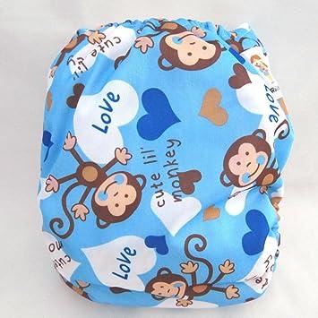 Kawaii Premium etiqueta orgánicos bambú un tamaño bolsillo pañales, Cheeky diseño de mono