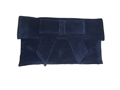 9c1572ad21c Image Unavailable. Image not available for. Colour: Navy faux suede clutch  bag Navy suede clutch bag with bow shoulder strap
