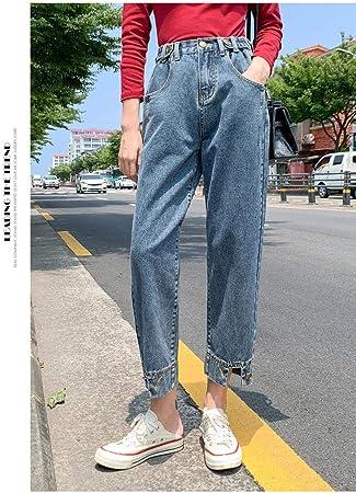 Kxdnzk Zkkxdn Harem De Cintura Alta Jeans De Mujer Pantalones De Mezclilla Vintage Boyfriend Mom Jeans Casual Retro Blue Jeans Loose Amazon Es Deportes Y Aire Libre