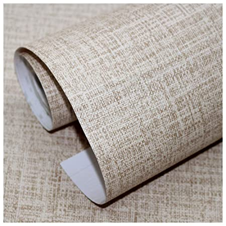Peel and Stick Faux Grasscloth Wallpaper Khaki Linen Self Adhesive Contact Paper