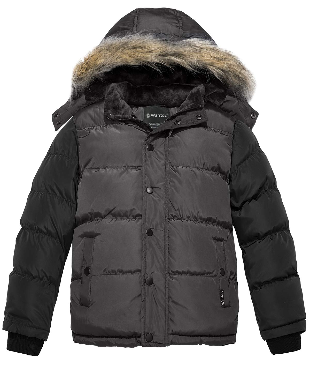 Wantdo Boy's Warm Puffer Jacket Thick Cotton Padded Winter Coat Grey 10/12