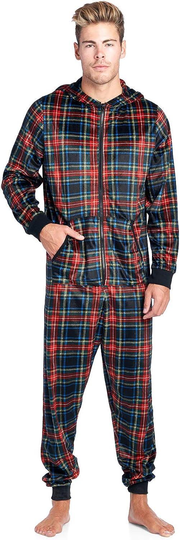 Ashford & Brooks Men's Mink Fleece Hooded One-Piece Union Suit Pajamas