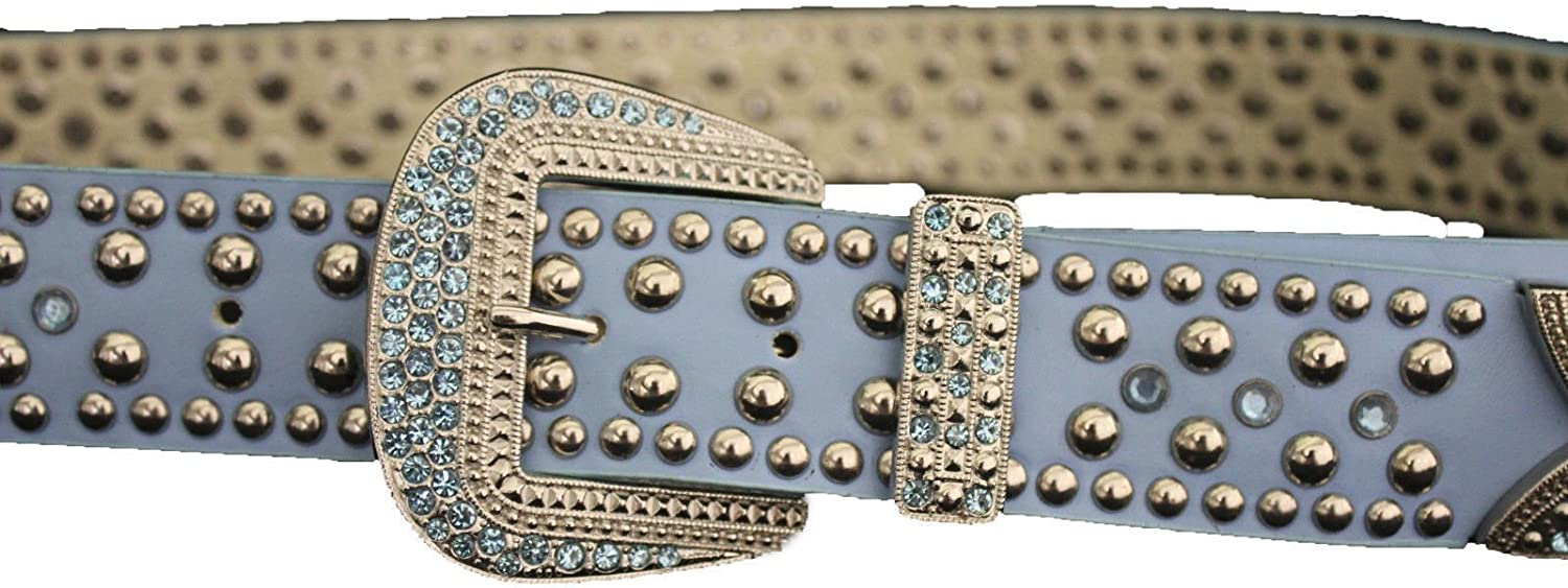 New Women Western Belt Light Green Faux Leather Silver Rhinestones Buckle M L