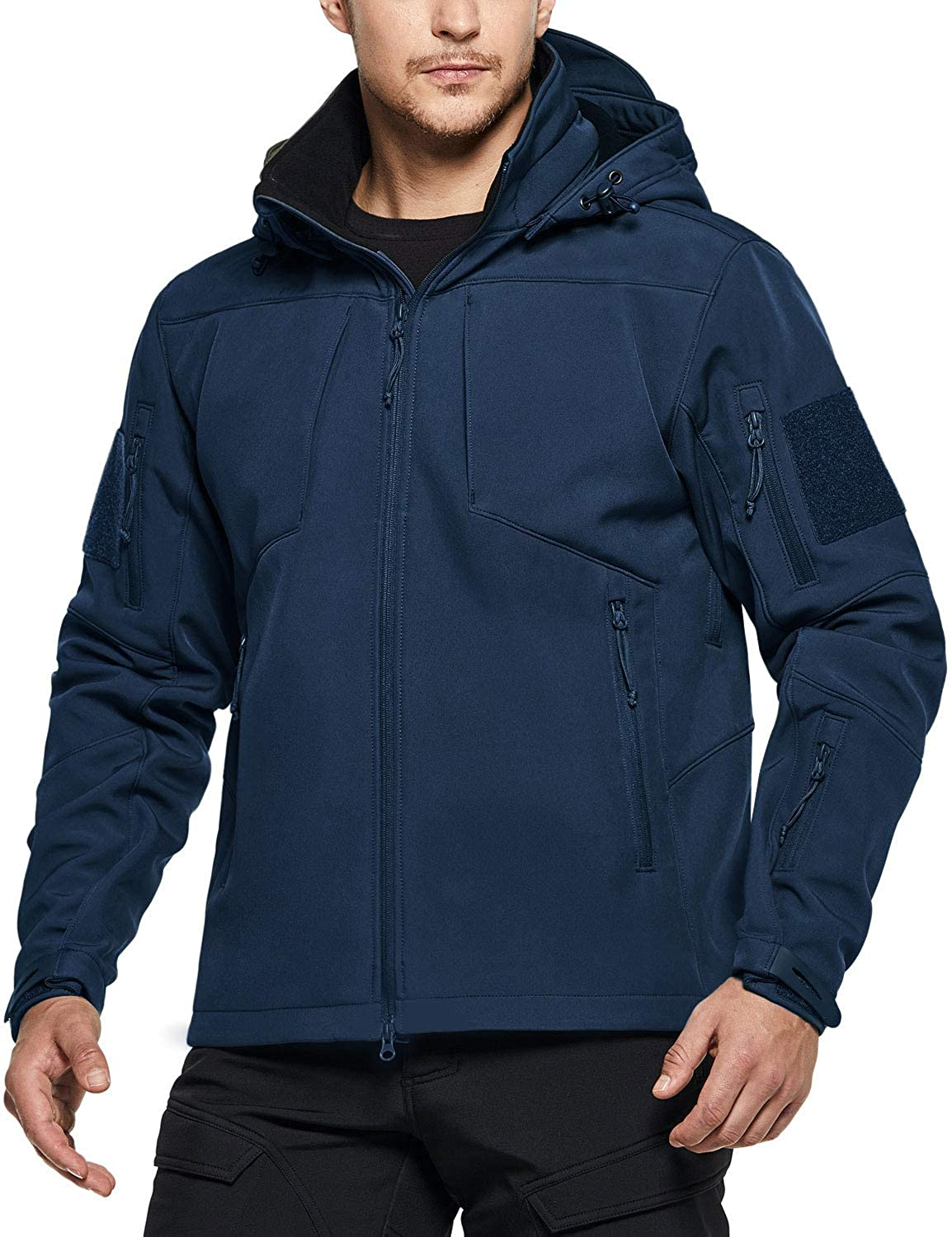 CQR Men's Tactical Softshell Detachable Hoodie Hiking Hunting EDC Lightweight Fleece Coat Jacket