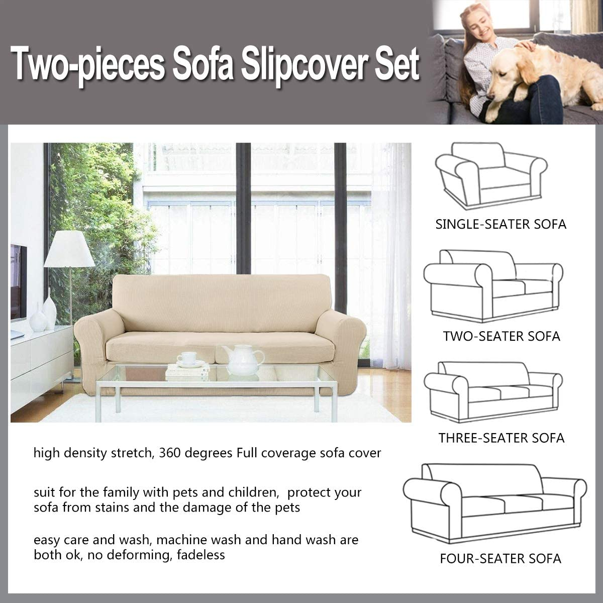 Mingfuxin 2PCS Anti-Slip Sofa Covers,Upgraded Polyester Fabric Stretch Sofa Slipcovers Furniture Protector with Separated Sitting Cushion Covers and Pillowcase Cover 1 Seater//Chair, Coffee