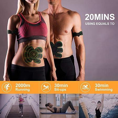 Electroestimulador Muscular Abdominales WiMiUS Cinturon Electroestimulador Muscular, USB Recargable, 10 Niveles & 8 Modos, Estimulador muscular Ejercitar ...