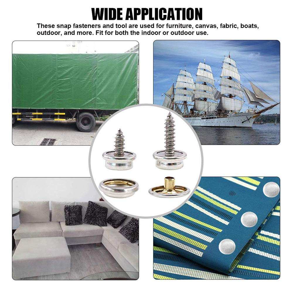 120-Pieces Stainless Steel Snap Button Kit Marine Grade Canvas and Upholstery Boat Cover Snap Button Fastener Kit with 2Pcs Setting Tool for Boat Cover Furniture
