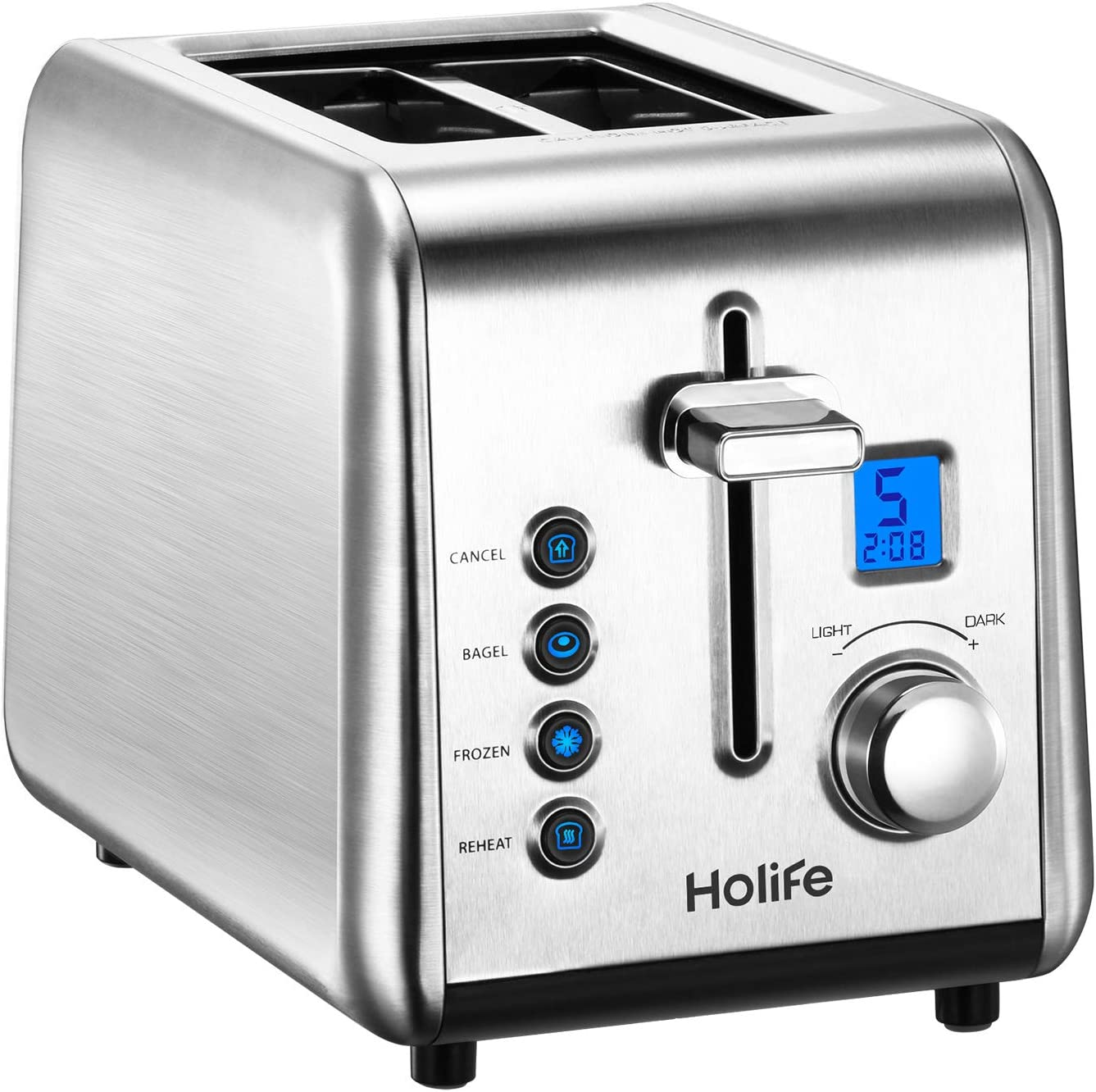"Holife Stainless Steel Bagel Toasters with LCD Timer, 6 Bread Settings, Bagel/Defrost/Reheat Function, 1.5"" Wide Slots, Removable Crumb Tray, 900W"